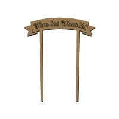 Bannière en bois - Vive les Mariés - 9 x 12 cm - 1 pce