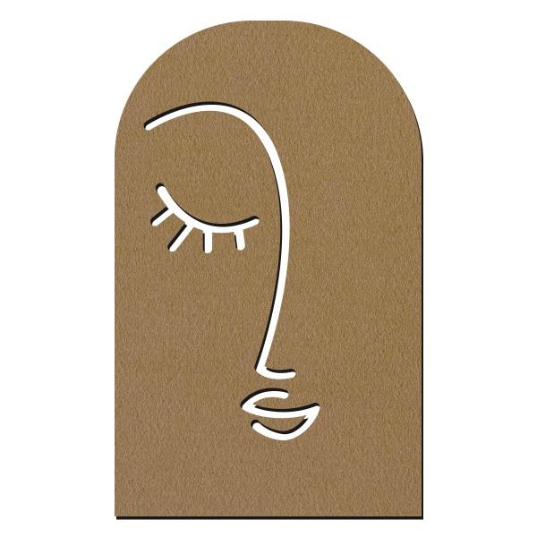 Déco Line Art en bois - Visage féminin abstrait - 40 x 24,5 cm - Photo n°1