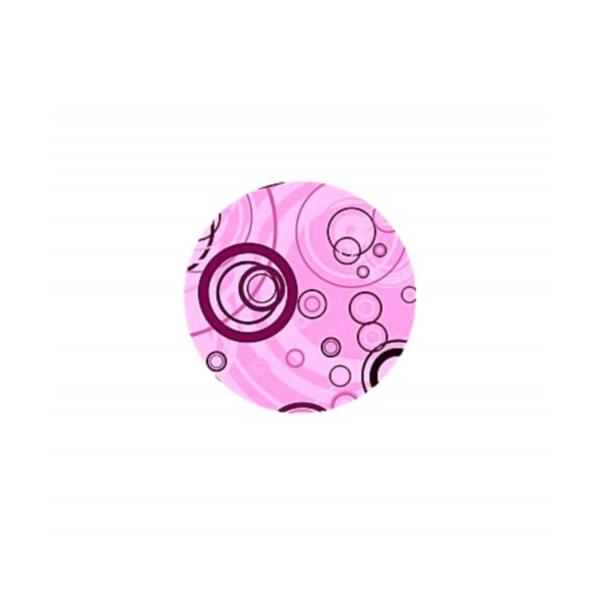 2 Cabochons Verre 16 mm, Cabochon Rond,Bubbles, Bulles Roses - Photo n°1
