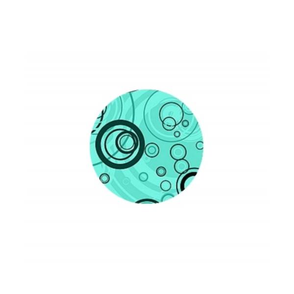 2 Cabochons Verre 16 mm, Cabochon Rond, Bubbles, Bulles Bleues - Photo n°1