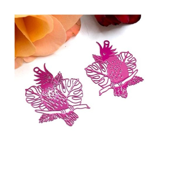 2 Pendentifs Filigrane Tropical Perroquet Rose Fuschia, 30*23 mm - Photo n°1