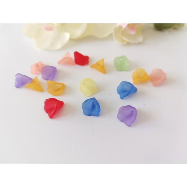 Perles acryliques givrée fleur 9/10 mm multicolore x 20 - Photo n°1