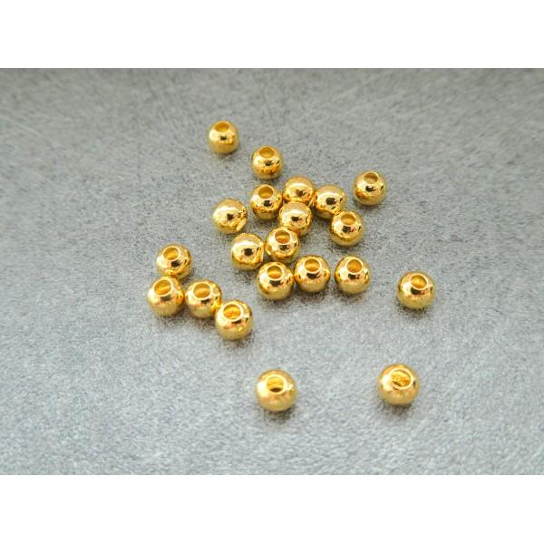 40 Perles rondes 4mm en métal doré - Photo n°1