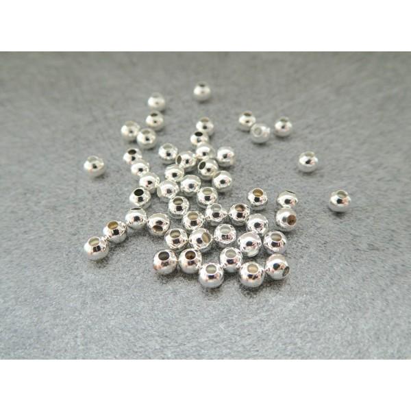 50 Perles rondes 3mm en métal argenté - Photo n°1