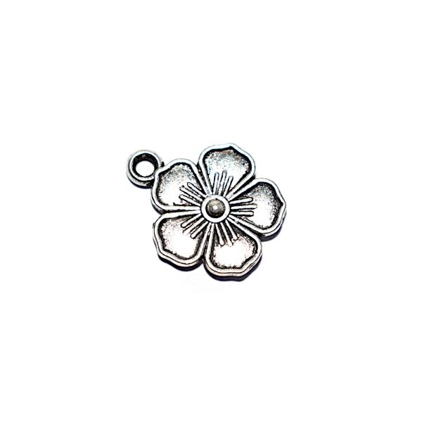 Breloque fleur 16x13mm argenté - Photo n°1