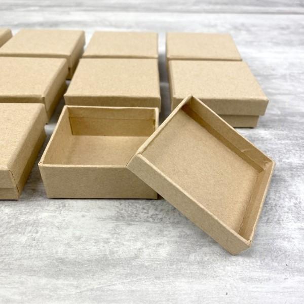 Lot de 10 boites plates carrées en carton, 6,5 cm x h. 2,7 cm, avec couvercle - Photo n°2