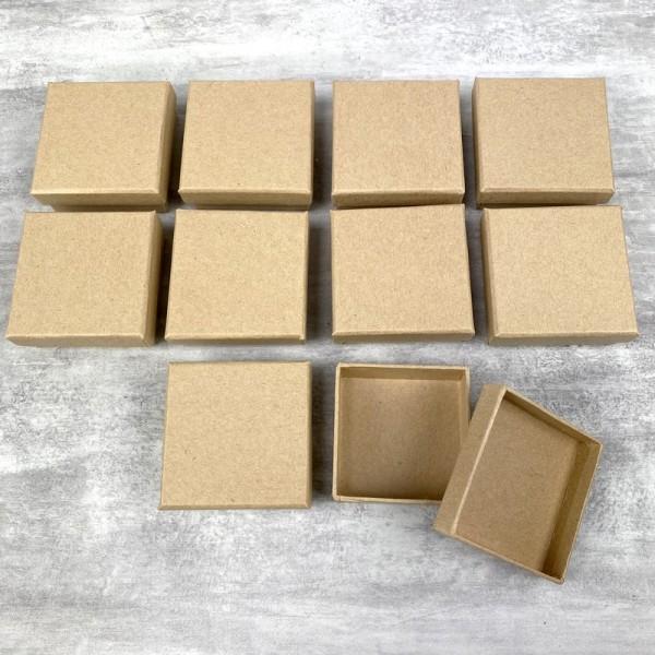 Lot de 10 boites plates carrées en carton, 6,5 cm x h. 2,7 cm, avec couvercle - Photo n°3