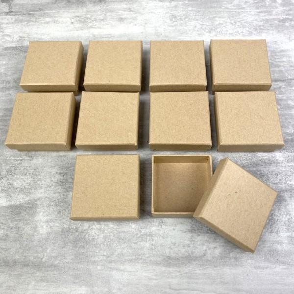Lot de 10 boites plates carrées en carton, 6,5 cm x h. 2,7 cm, avec couvercle - Photo n°1