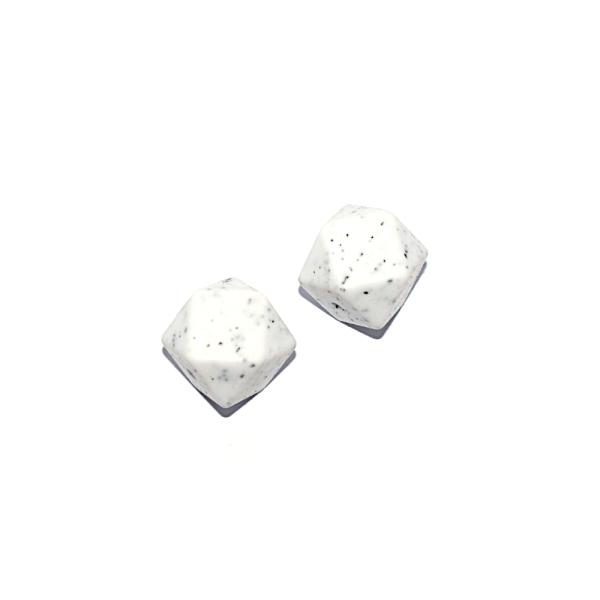 Perle hexagonale 17 mm en silicone granite blanc - Photo n°1