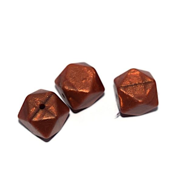 Perle hexagonale 17 mm en silicone cuivré nacré - Photo n°1