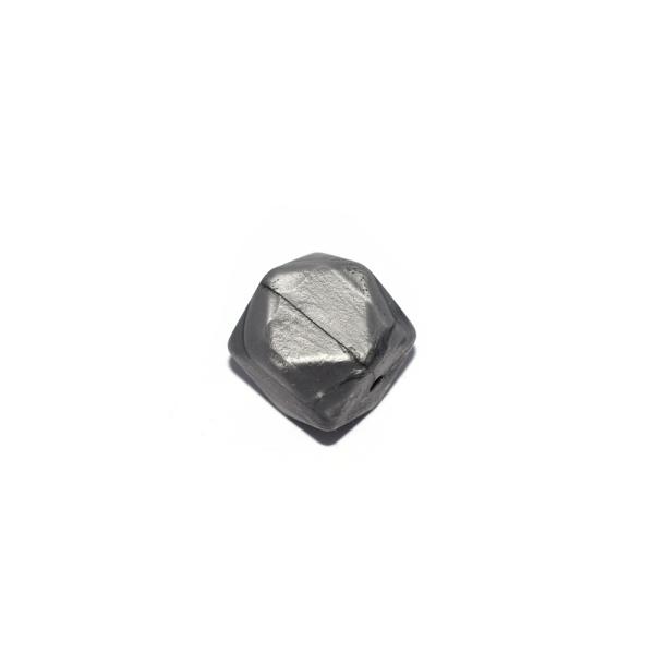 Perle hexagonale 17 mm en silicone gris métallisé - Photo n°1