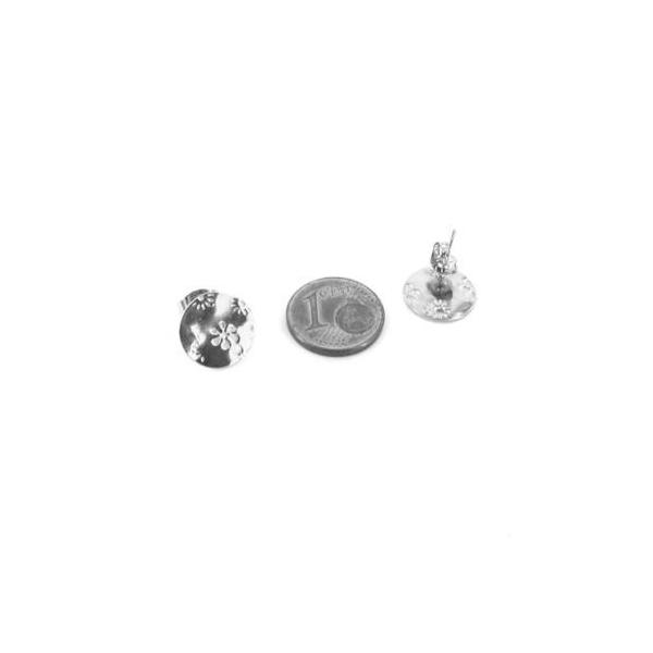 2 Clous Puce De Boucles D'oreilles En Acier Inoxydable Argenté Forme Sequin Motif Fleur - Photo n°2