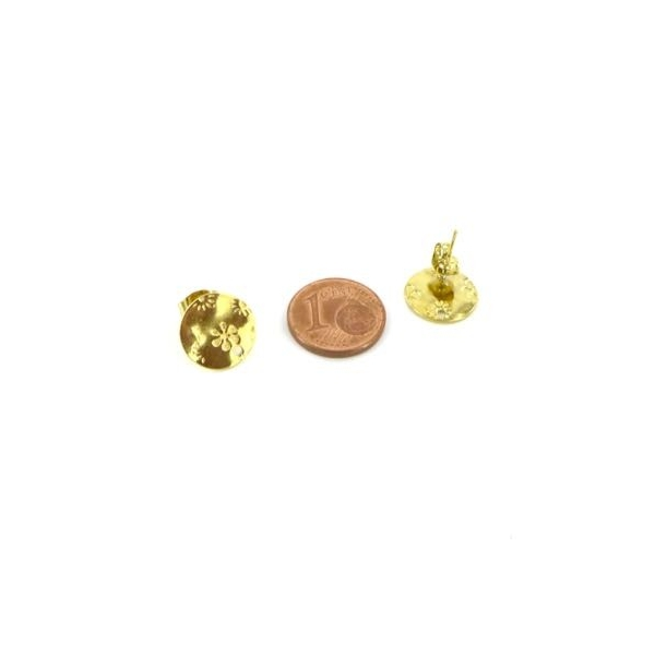 2 Clous Puce De Boucles D'oreilles En Acier Inoxydable Doré Forme Sequin Motif Fleur - Photo n°2