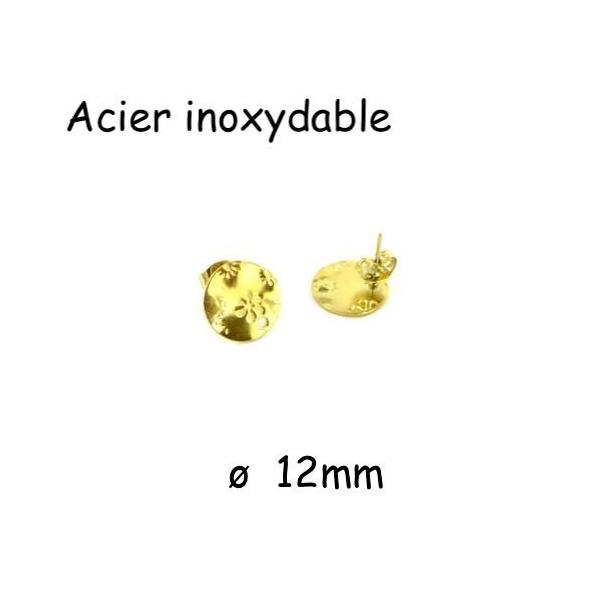 2 Clous Puce De Boucles D'oreilles En Acier Inoxydable Doré Forme Sequin Motif Fleur - Photo n°1