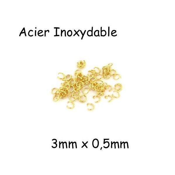 100 Anneaux De Jonction Doré En Acier Inoxydable 3mm X 0,5mm - Photo n°1