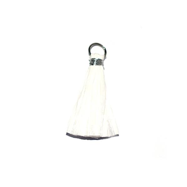 Pompon blanc 30 mm papier crepon - anneau argenté - Photo n°1