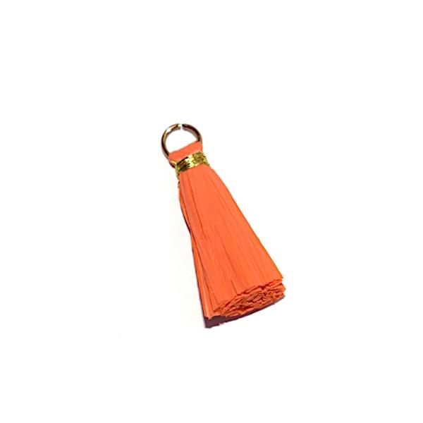 Pompon orange 30 mm papier crepon - anneau argenté - Photo n°1