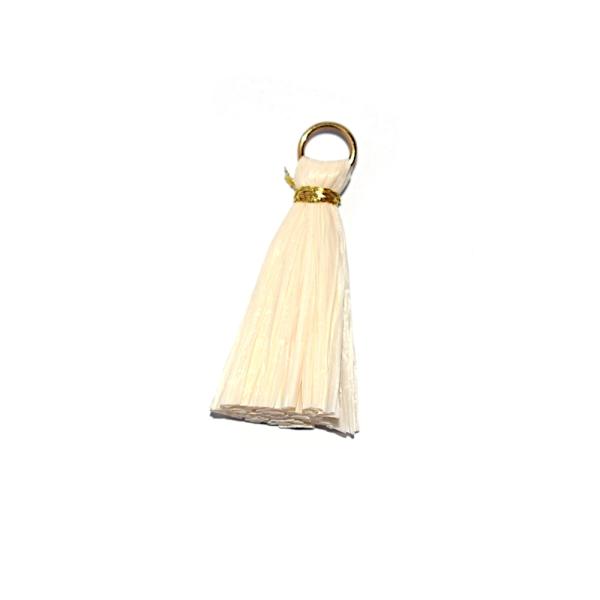Pompon beige 30 mm papier crepon - anneau argenté - Photo n°1