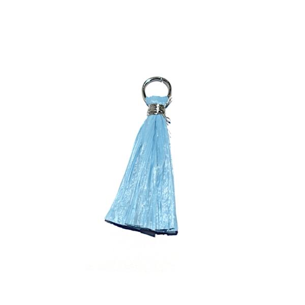 Pompon bleu clair 30 mm papier crepon - anneau argenté - Photo n°1