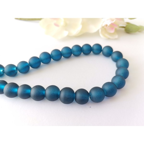 Perles en verre givré 10 mm bleu marine x 10 - Photo n°1