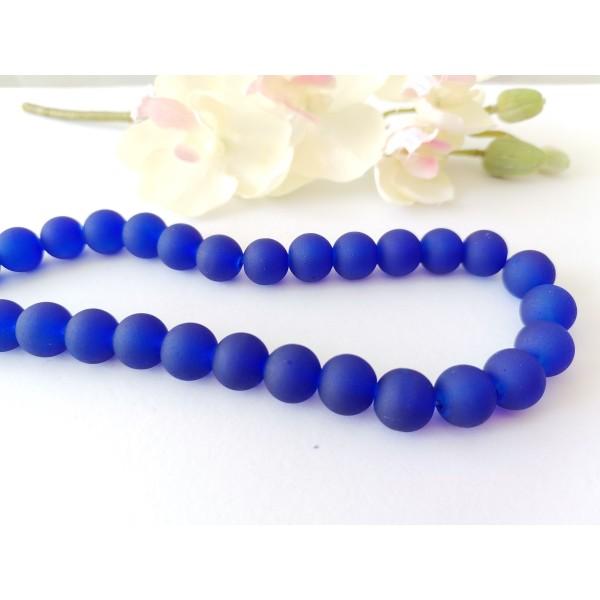 Perles en verre givré 10 mm bleu nuit x 10 - Photo n°1