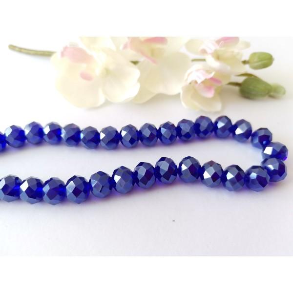 Perles en verre à facette 10 x 7 mm bleu nuit AB x 10 - Photo n°1