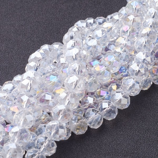 Perles en verre à facette 10 x 7 mm cristal AB x 10 - Photo n°2