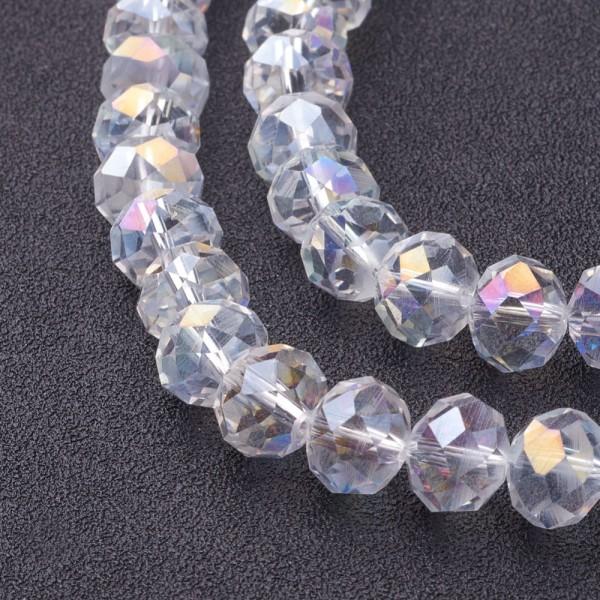 Perles en verre à facette 10 x 7 mm cristal AB x 10 - Photo n°1