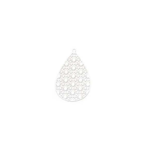PS110206593 PAX 5 Estampes pendentif filigrane Goutte travaillé 35mm métal couleur Argent Platine - Photo n°1