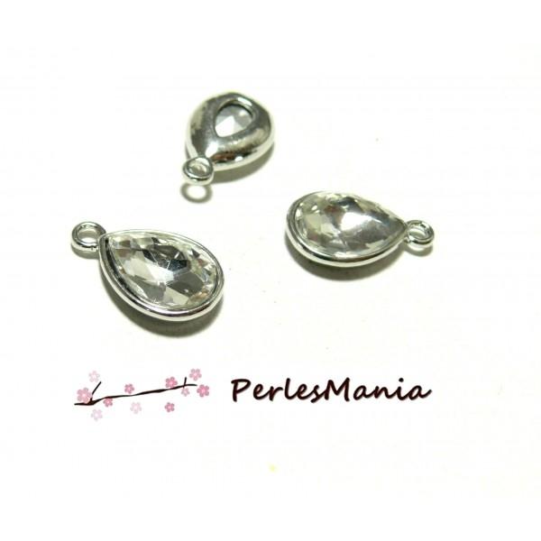 PS1185753 Lot de 4 pendentifs GOUTTE Verre FACETTE Transparents 19mm - Photo n°1
