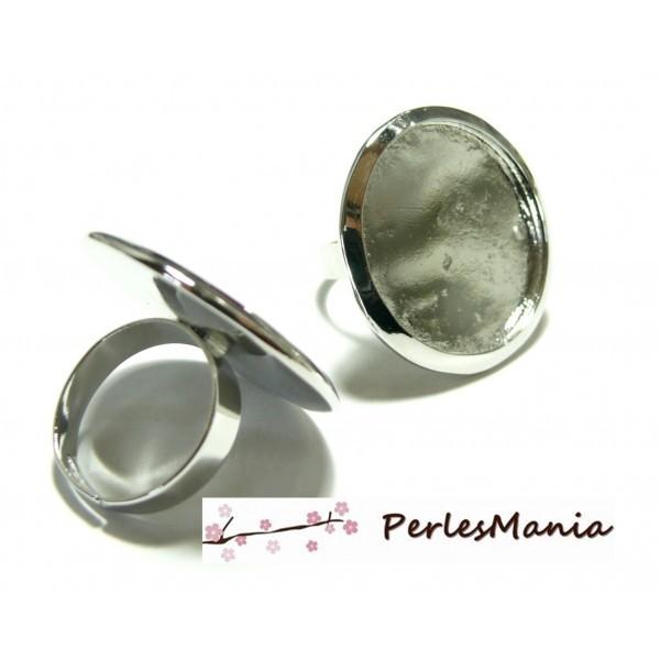 BN1127554 Lot 1 Bague imposante ronde 25mm Laiton coloris ARGENT PLATINE anneau normal - Photo n°1