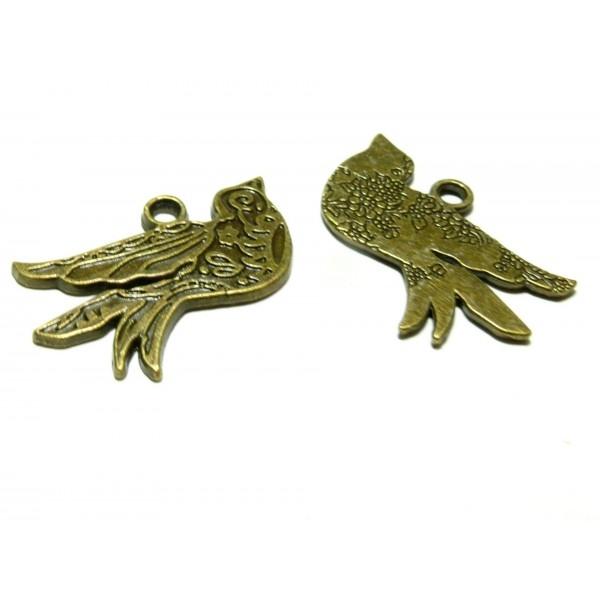 Lot de 2 pendentifs breloque OISEAU DECORE BIFACE 40mm métal coloris BRONZE 2B1306 - Photo n°1