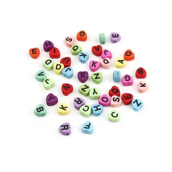 PS11662438 PAX 100 pendentifs Perles intercalaire passants Coeur Multicolores Alphabet Acrylique - Photo n°1