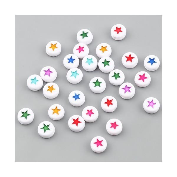 PS11669893 PAX 100 pendentifs Perles intercalaire passants Rond Plat Blanc motif Etoile Multicolore - Photo n°1