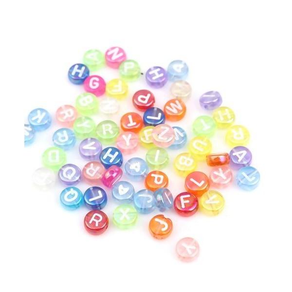 PS110255683 PAX 100 pendentifs Perles intercalaire passants Rond Plat 7mm Multicolores Alphabet Acr - Photo n°1