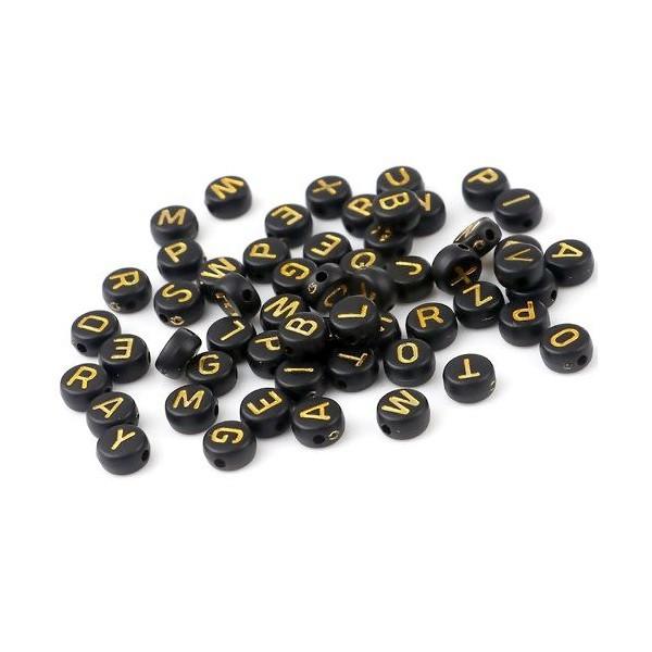 PS11669750 PAX 100 pendentifs Perles intercalaire passants Rond Plat Noir 7mm motif Alphabet Or Acr - Photo n°1