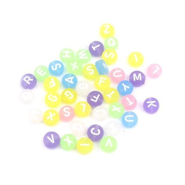 PS110255682 PAX 100 pendentifs Perles intercalaire passants Rond Plat 7mm Multicolores Effet Givre - Photo n°1
