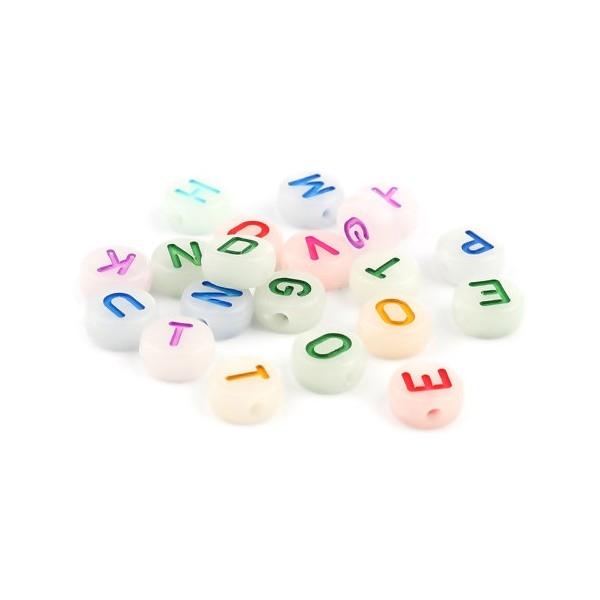 PS11669898 PAX 50 pendentifs Perles intercalaire passants Rond Plat 10mm Multicolores Phosphorescen - Photo n°1
