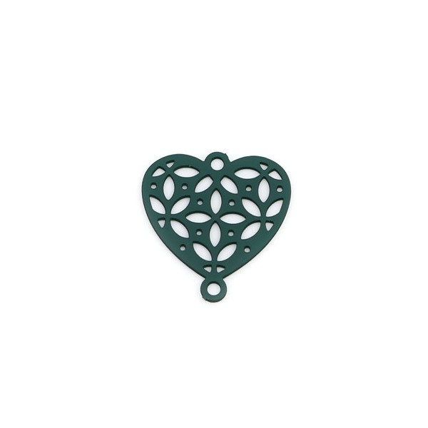 PS110239273 PAX 10 Estampes pendentif connecteur filigrane Coeur 15mm coloris Vert - Photo n°1