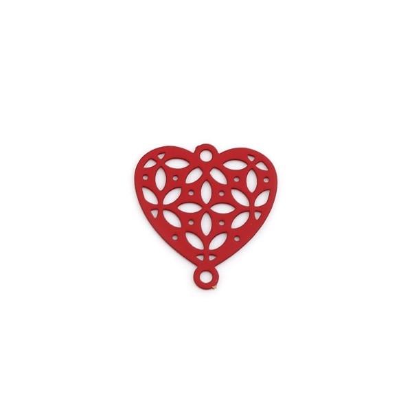 PS110239274 PAX 10 Estampes pendentif connecteur filigrane Coeur 15mm coloris Rouge - Photo n°1