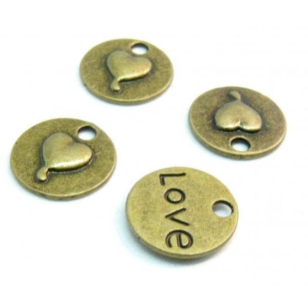 PS1119511 PAX 20 pendentifs Médaillon Coeur LOVE métal couelur Bronze idéal pour la Saint Valentin - Photo n°1