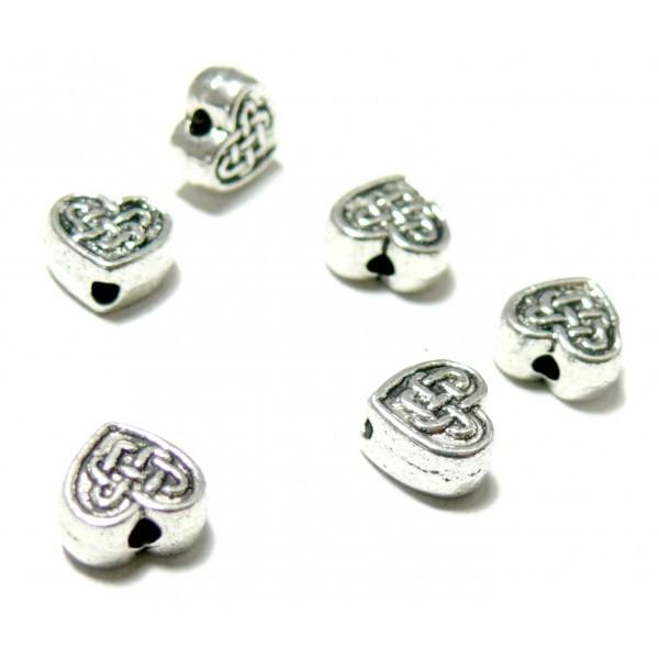 PS11100515 PAX 25 perles intercalaires Coeur Noeud 7mm métal couleur ARGENT ANTIQUE - Photo n°1