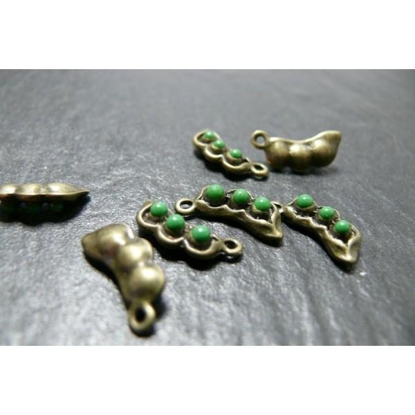 Lot de 10 pendentifs petits pois emaillés vert métal coloris Bronze - Photo n°1
