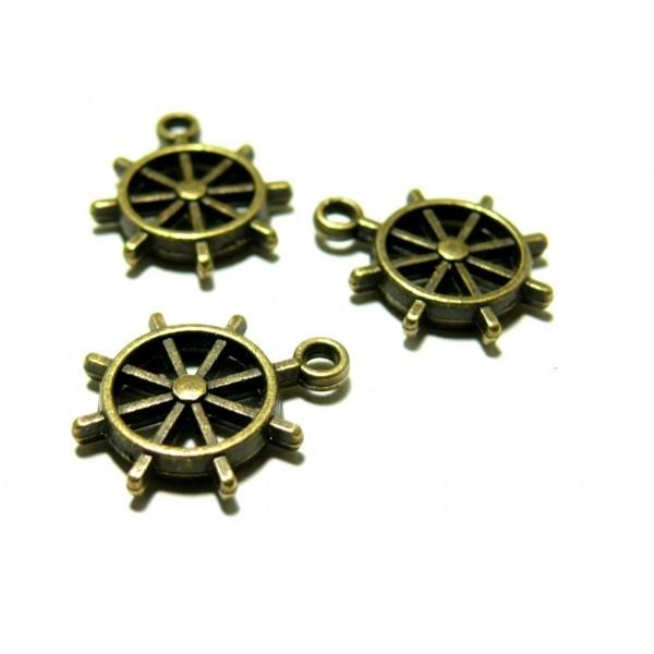 PK955 PAX 20 pendentifs roue gouvernail métal coloris Bronze - Photo n°1