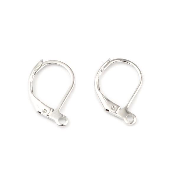 S11666850 PAX 20 pieces Boucle d'oreille dormeuses simple avec attache Cuivre Coloris Argent Platin - Photo n°1