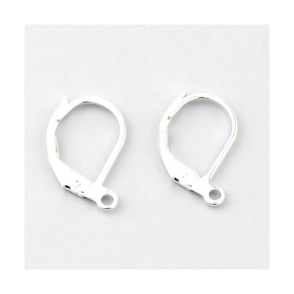 S11666849 PAX 20 pieces Boucle d'oreille dormeuses simple avec attache Cuivre Coloris Argent Vif - Photo n°1