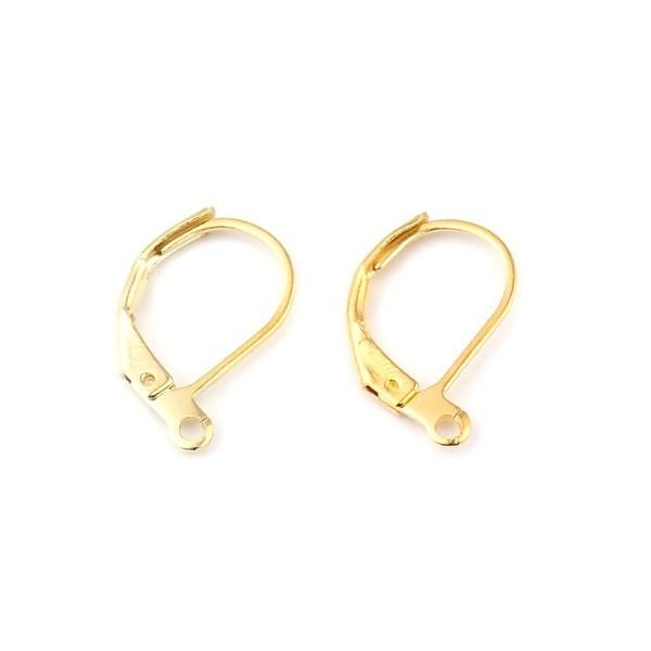 S11666848 PAX 20 pieces Boucle d'oreille dormeuses simple avec attache Cuivre Coloris Doré - Photo n°1