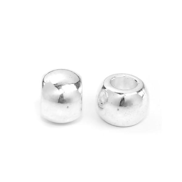 PS110141010 PAX 10 perles intercalaire 10 par 7 mm Grand Trou couleur Argent Vif - Photo n°1