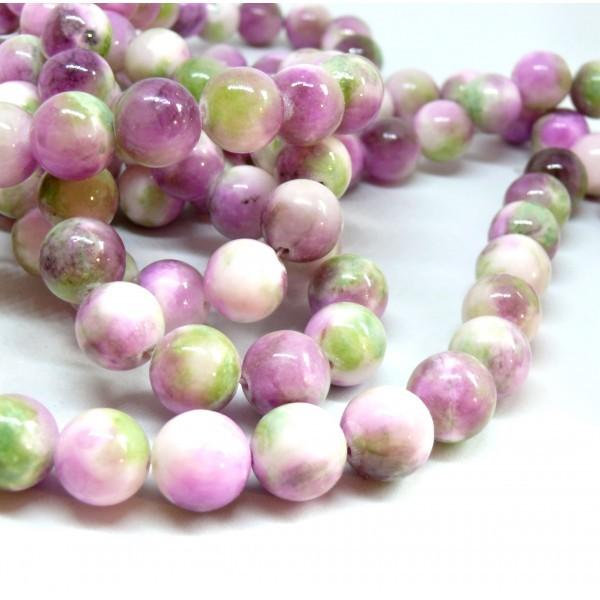 Lot de 10 Perles Rondes Jade teintée 12mm Rose, Violet, vert R73083 - Photo n°1