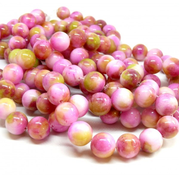 Lot de 10 perles Rondes Jade teintée 12mm Rose Jaune R73029 - Photo n°1
